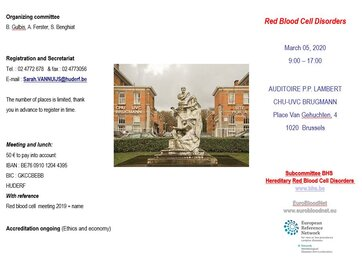 2020 Belgian meeting on Red Blood Cell disorders for scientists and patients will be held next 5th March!