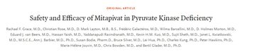 """Safety and Efficacy of Mitapivat in Pyruvate Kinase Deficiency"" has just been published"