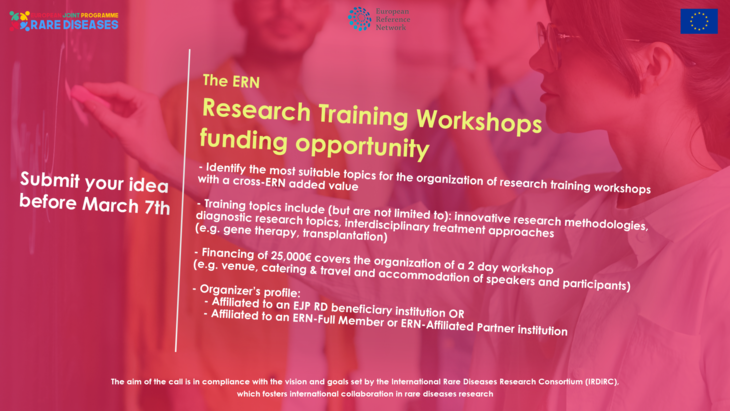 The EJP-RD ERN Research Training Workshops Call is now open!